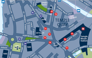 Bus stop locations at Temple Gate