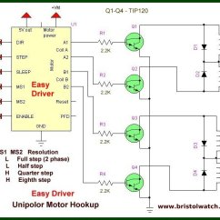 Long S Stepper Motor Wiring Diagram 1999 Ford Explorer Front Suspension Arduino Connecting Easy Driver Controller Combined Bipolar Transistors