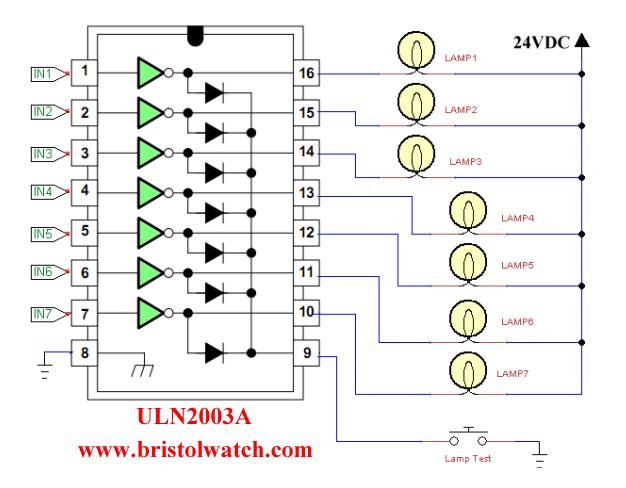 24 volt relay wiring diagram renault megane 2 uln2003a darlington transistor array circuit examples driving 7 light bulbs