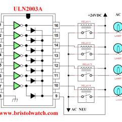 24 Volt Relay Wiring Diagram Rv Trailer Uln2003a Darlington Transistor Array Circuit Examples Driving 4 Relays To Control 120vac Lamps