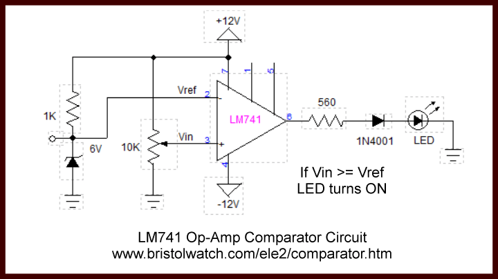 led light circuit diagram for dummies labelled of a circle comparator circuits examples tutorial lm741 based uses bi polar power supply