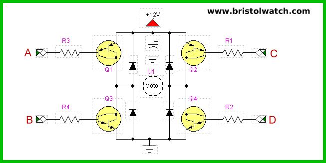 Circuit Using Transistors On H Bridge Motor Driver Circuit Diagram