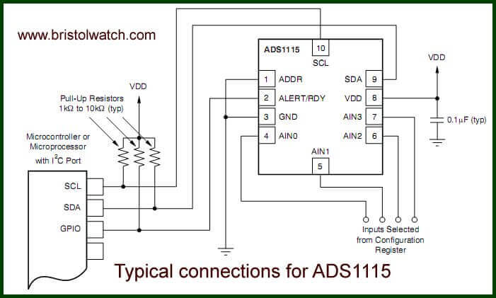 4 channel wiring diagram partial mesh topology ads1115 adc uses i2c with raspberry pi electrical connections