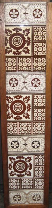 Antique MINTON Geometrical Fireplace Tile Set