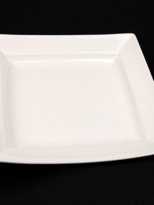 square white china dinner plate