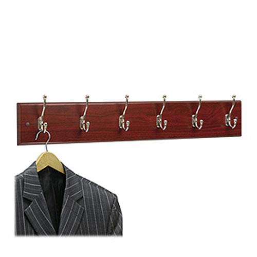"4217MH Wooden Wall Mounted Coat Rack, 6 Hooks, 35.5""W x 3"