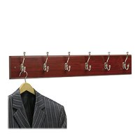 "4217MH Wooden Wall Mounted Coat Rack, 6 Hooks, 35.5""W x 3"