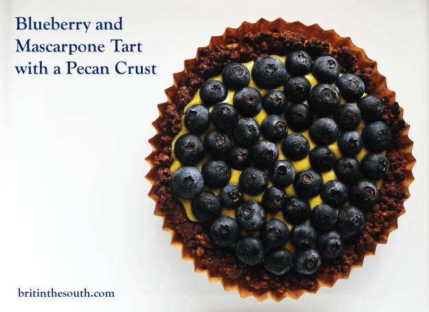 Blueberry and Mascarpone Tart with a Pecan Crust from britinthesouth.com