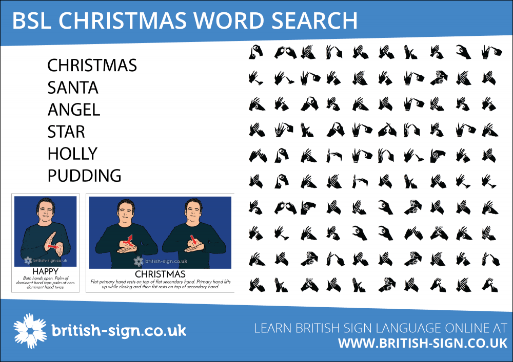 Christmas Word Search British Sign Language Learn BSL