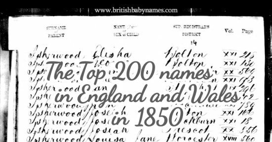 Top 200 Most Popular Names in England and Wales in 1850 - British ...