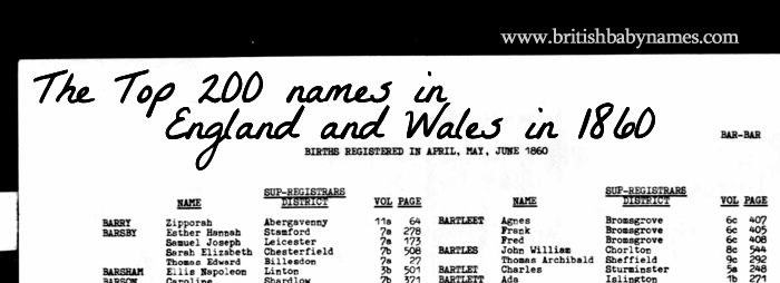 Top 200 Most Popular Names in England and Wales in 1860 - British ...