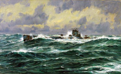 small resolution of german u boat at sea in the first world war picture by claus bergen