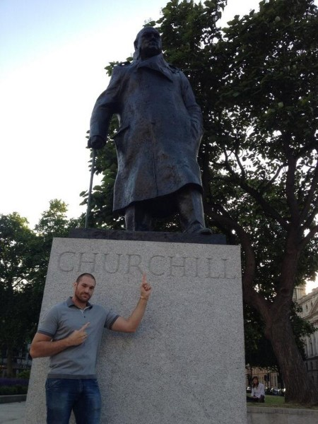 fury with Churchill statue
