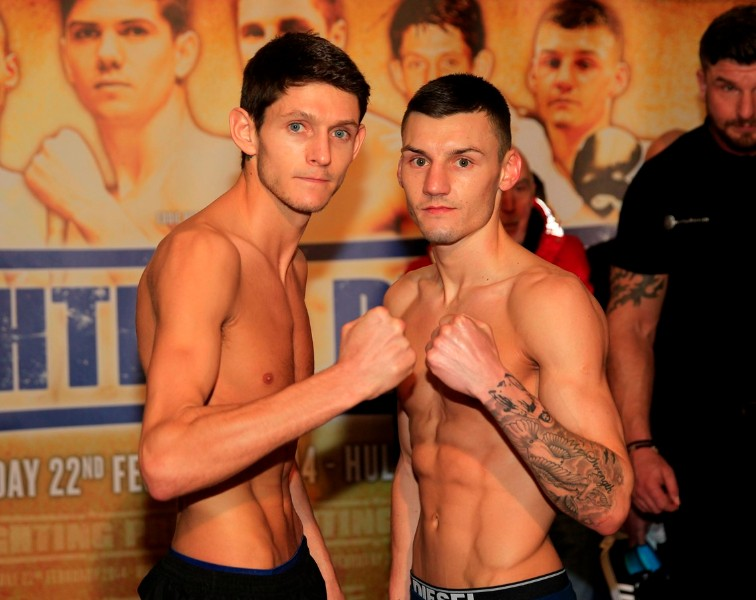 FIGHTING PRIDE WEIGH IN CITY HALL,HULL PIC;LAWRENCE LUSTIG GAVIN McDONNELL AND LEIGH WOOD WEIGHS IN