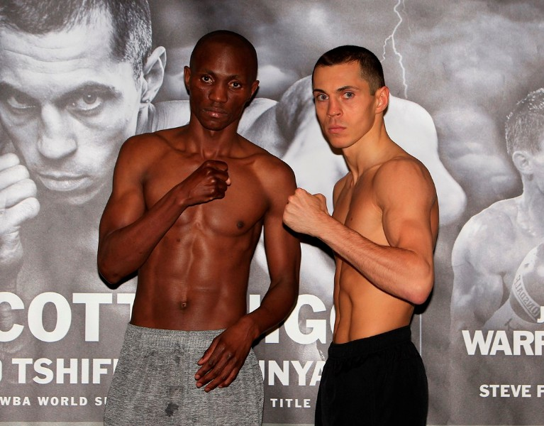 RISE UP PROMOTION WEIGH IN MANCHESTER CENTRAL,MANCHESTER PIC;LAWRENCE LUSTIG WBA SUPER-BANTAMWEIGHT TITLE WORLD CHAMPION SCOTT QUIGG AND CHALLENGER TSHIFHIWA MUNYAIWEIGH IN