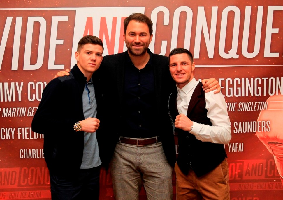 DIVIDE AND CONQUER PRESS CONFERENCE HULL CITY HALL,HULL PIC;LAWRENCE LUSTIG PROMOTER EDDIE HEARN WITH OLYMPIC GOLD MEDALIST LUKE CAMPBELL AND TOMMY COYLE