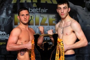 PRIZEFIGHTER WELTERWEIGHTS3-WEIGH IN NOVOTEL,WOLVERHAMPTON 18/1/13 PIC;LAWRENCE LUSTIG DALE EVANS  AND SAM EGGINGTON WEIGHS IN