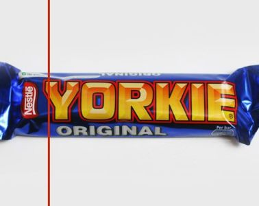 Yorkie Bar with line showing percentage it has decreased in size