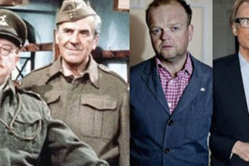 Composite of Arthur Lowe and John Le Mesurier of Dad's Army, with Toby Jones and Bill Nighy