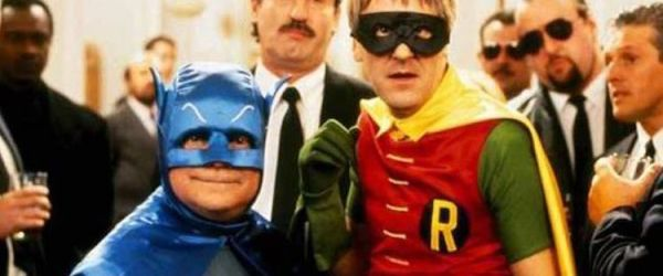 Del boy and Rodney arrive at a wake as Batman and Robin