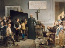 Abbé de l'Eppé teaching Deaf children in front of Louis XVI