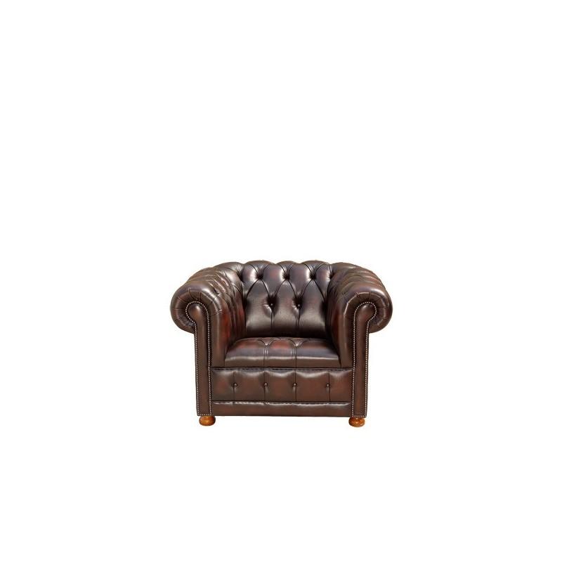 fauteuil chesterfield 100 cuir marron classique