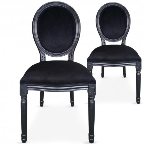 chaises medaillon velours noir louis xvi lot de 2