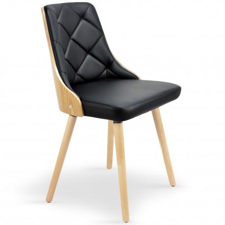 chaises scandinaves bois clair et simili cuir noir lot de 2