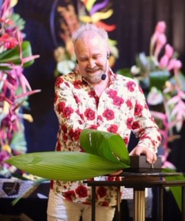Mark Entwistle from Manchester is demonstrating at FleurEx for the British Florist Association.