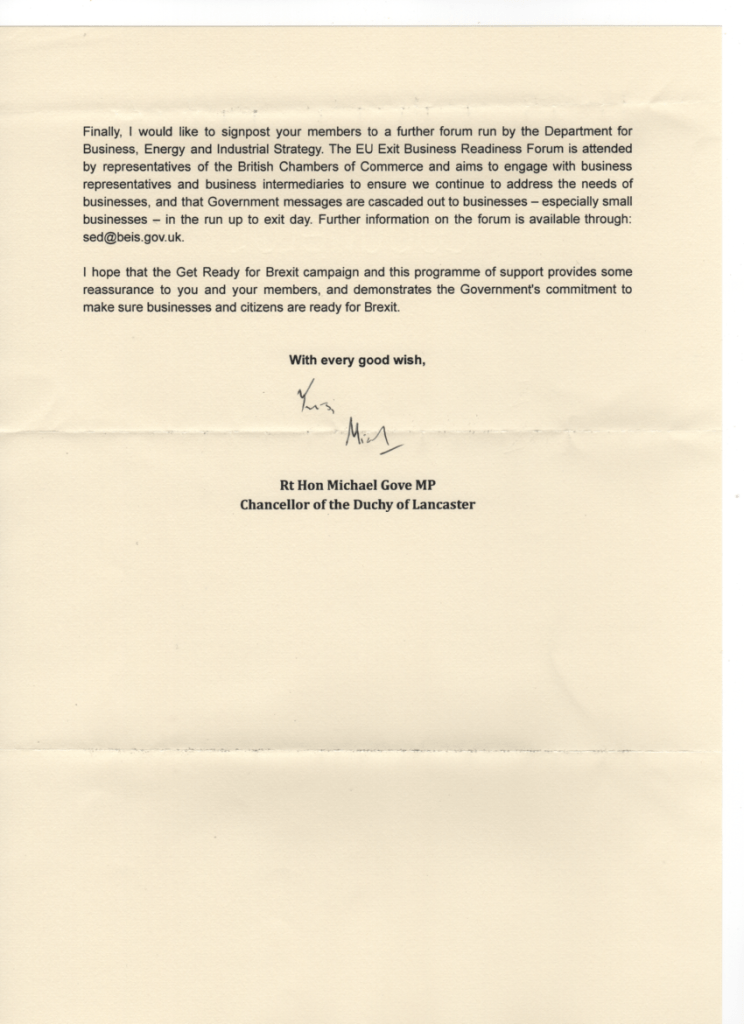 Letter from Michael Gove Brexit to BFA Chairman