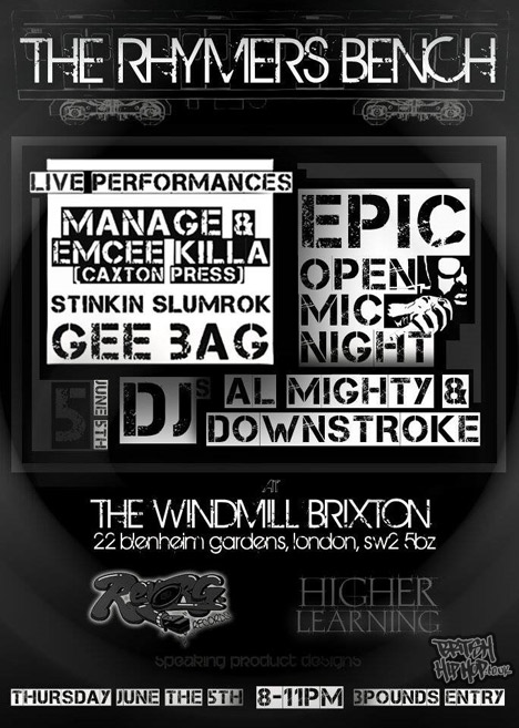 New Live Hip Hop Night In London - The Rhymers' Bench