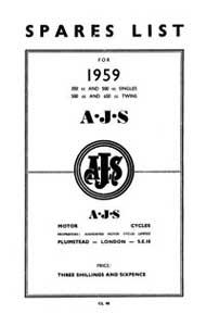 1959 AJS Parts list