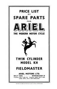1956 Ariel Twin KH 500cc Fieldmaster parts book