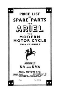 1953 Ariel Twin KH, KHA parts book