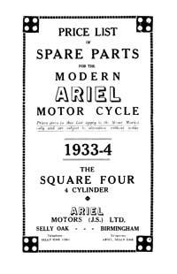 1933-1934 Ariel Square four parts book
