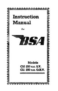 1951 BSA C10 C11 instruction book