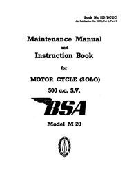 W.D. BSA M20 500cc maintenance manual & instruction book