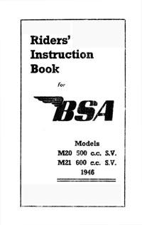 1946 BSA M20 M21 instruction book