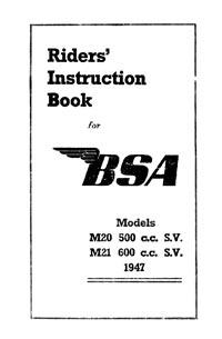1947 BSA M20 M21 instruction book