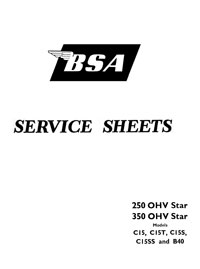 BSA C15 C15T C15S C15SS & B40 models Service sheets