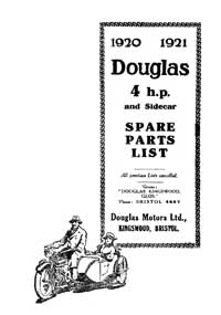 1920-1921 Douglas 4hp & Sidecar parts book