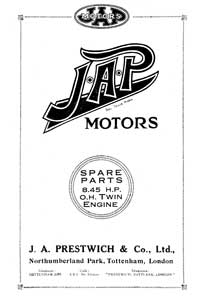J.A.P. 8.45hp OHV engine parts book