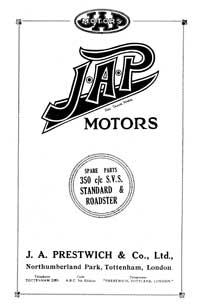 J.A.P. 350cc S.V.S. Standard & roadster parts book