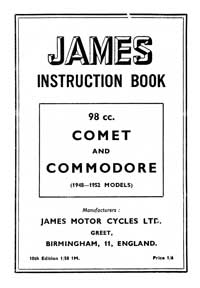 1948-1952 James Comet & Commodore instruction book