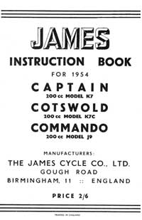 1954 James Captain Cotswold Commando instruction book