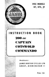 1955 James Captain Cotswold Commando instruction book