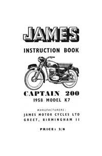 1958 James Captain K7 instruction book