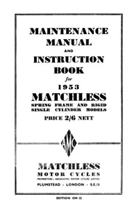 1953 Matchless Single cylinder models maintenance manual