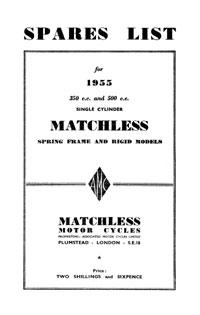 1955 Matchless Single cylinder models parts book