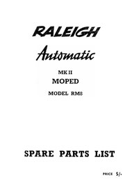 Raleigh Automatic MkII moped RM8 parts book